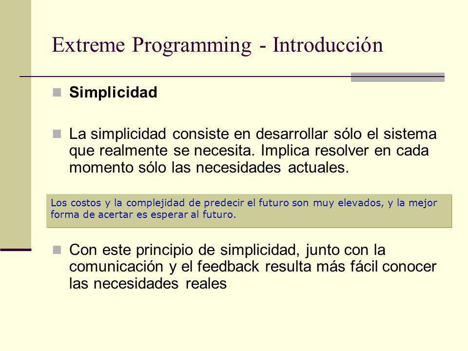 Reglas y prácticas de XP - Diseño Diseño simple: Implementar la solución más simple que pueda funcionar La complejidad innecesaria y el código extra debe ser removido inmediatamente No agregar nuevas funcionalidades antes de que sean agendadas