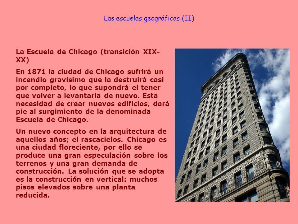 La Escuela de Chicago (transición XIX- XX) En 1871 la ciudad de Chicago sufrirá un incendio gravísimo que la destruirá casi por completo, lo que supon
