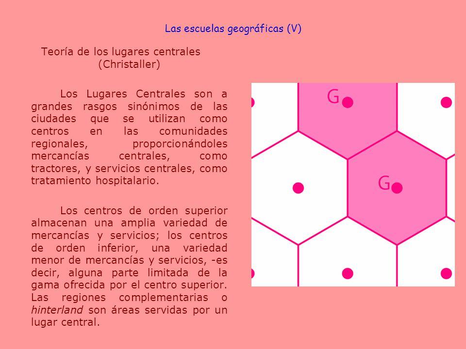 Teoría de los lugares centrales (Christaller) Los Lugares Centrales son a grandes rasgos sinónimos de las ciudades que se utilizan como centros en las