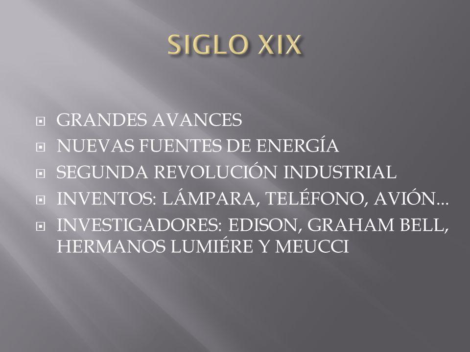GRANDES AVANCES NUEVAS FUENTES DE ENERGÍA SEGUNDA REVOLUCIÓN INDUSTRIAL INVENTOS: LÁMPARA, TELÉFONO, AVIÓN... INVESTIGADORES: EDISON, GRAHAM BELL, HER