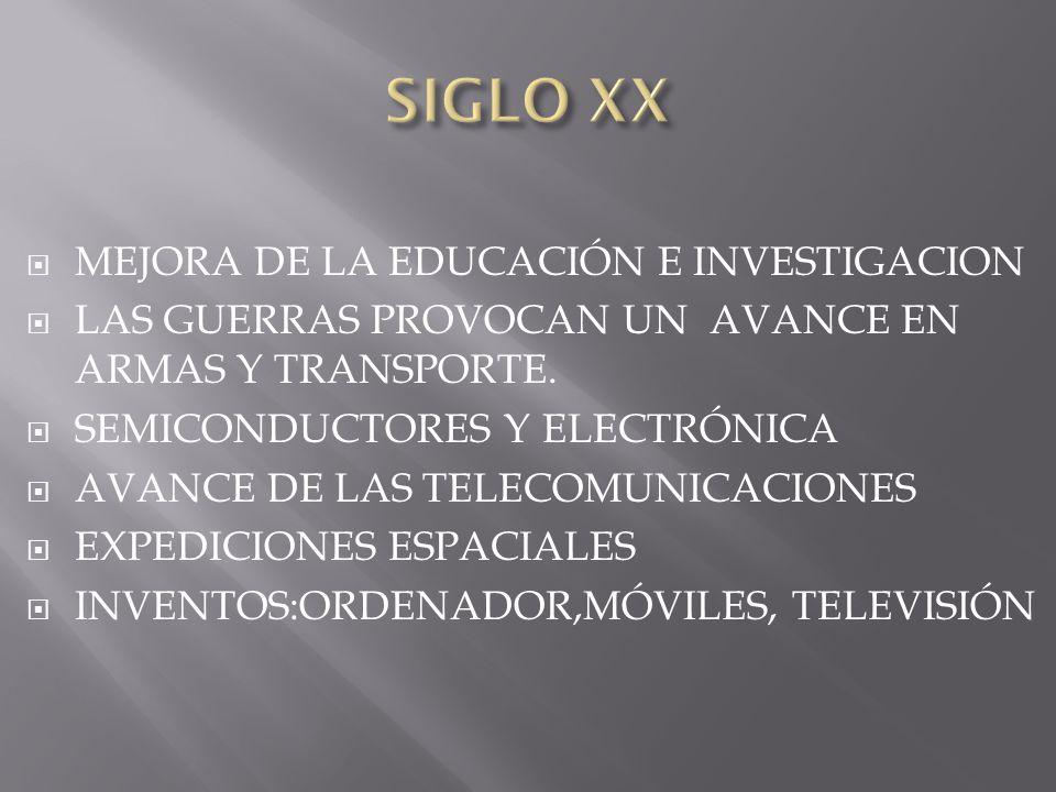 MEJORA DE LA EDUCACIÓN E INVESTIGACION LAS GUERRAS PROVOCAN UN AVANCE EN ARMAS Y TRANSPORTE. SEMICONDUCTORES Y ELECTRÓNICA AVANCE DE LAS TELECOMUNICAC