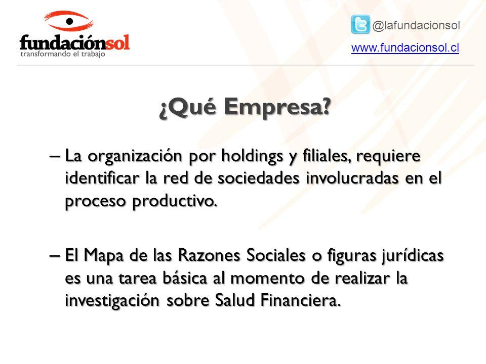 @lafundacionsol www.fundacionsol.clwww.fundacionsol.cl – La organización por holdings y filiales, requiere identificar la red de sociedades involucradas en el proceso productivo.