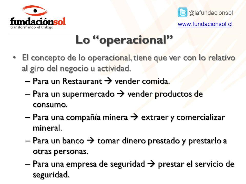 @lafundacionsol www.fundacionsol.clwww.fundacionsol.cl Lo operacional El concepto de lo operacional, tiene que ver con lo relativo al giro del negocio u actividad.