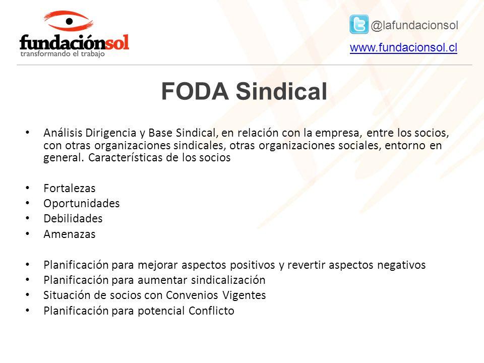 @lafundacionsol www.fundacionsol.clwww.fundacionsol.cl FODA Sindical Análisis Dirigencia y Base Sindical, en relación con la empresa, entre los socios, con otras organizaciones sindicales, otras organizaciones sociales, entorno en general.