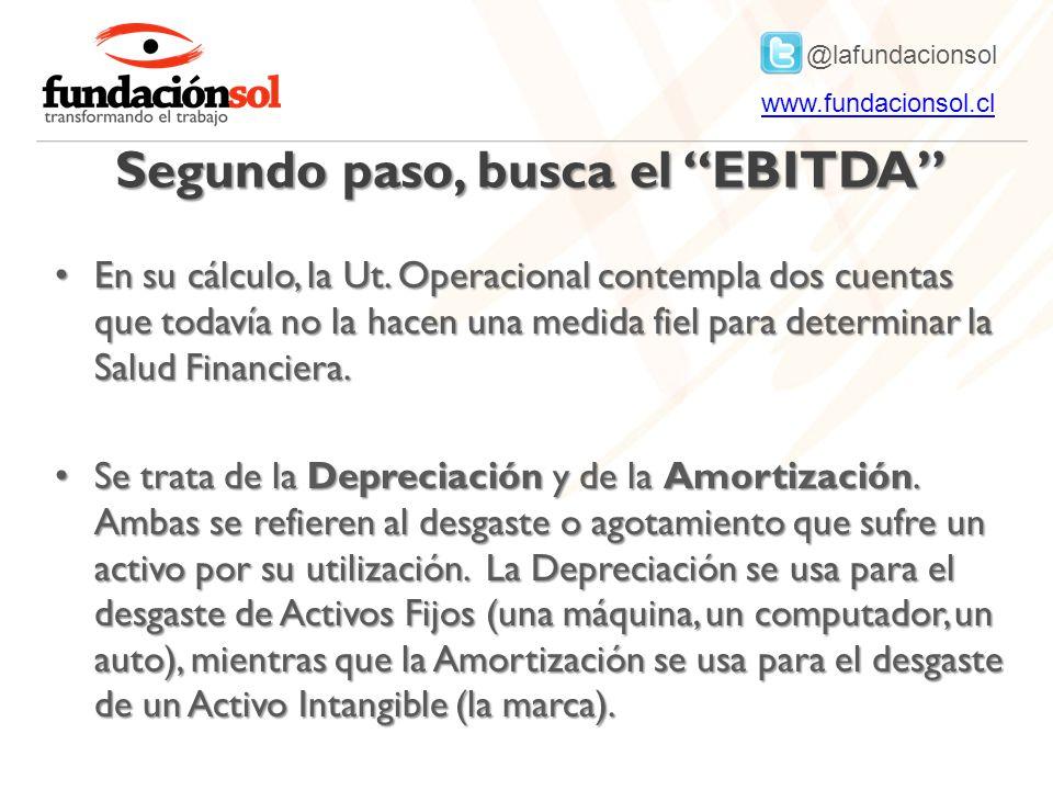 @lafundacionsol www.fundacionsol.clwww.fundacionsol.cl Segundo paso, busca el EBITDA En su cálculo, la Ut.