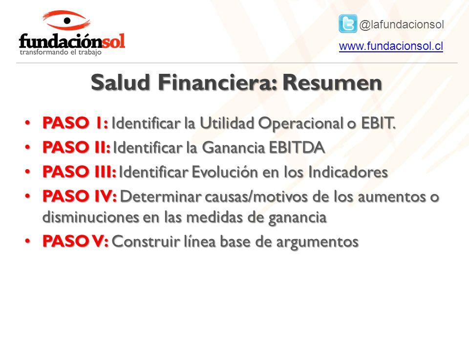 @lafundacionsol www.fundacionsol.clwww.fundacionsol.cl Salud Financiera: Resumen PASO 1: Identificar la Utilidad Operacional o EBIT.