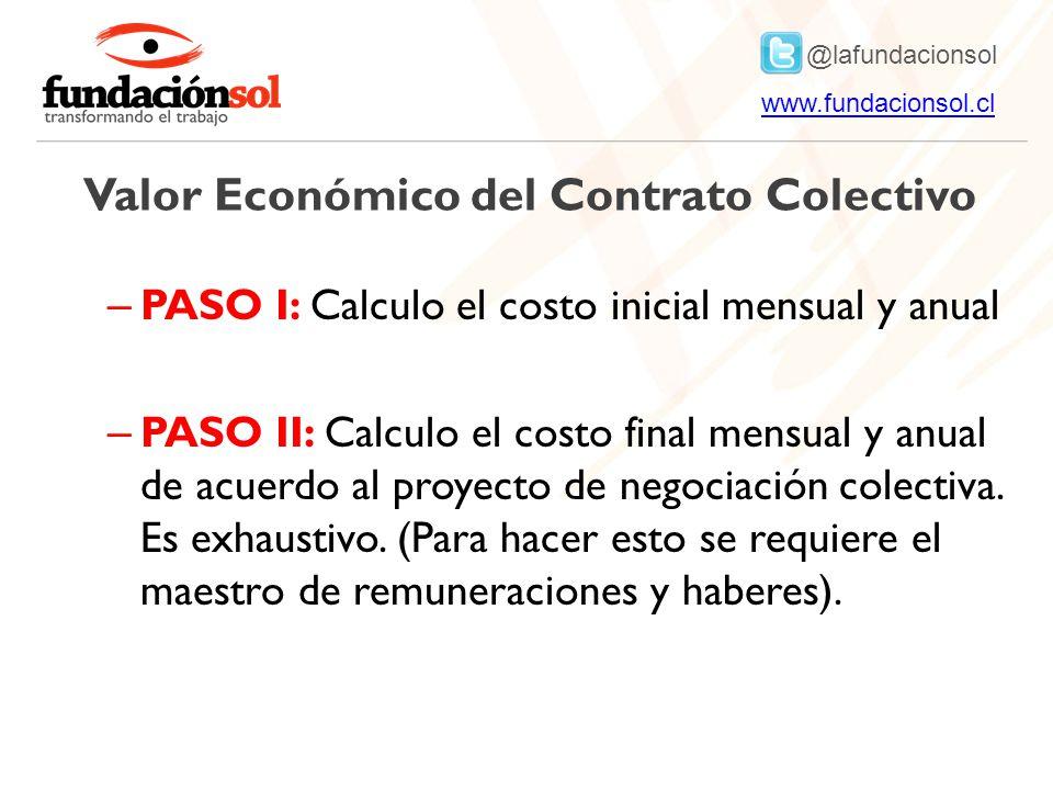 @lafundacionsol www.fundacionsol.clwww.fundacionsol.cl Valor Económico del Contrato Colectivo – PASO I: Calculo el costo inicial mensual y anual – PASO II: Calculo el costo final mensual y anual de acuerdo al proyecto de negociación colectiva.