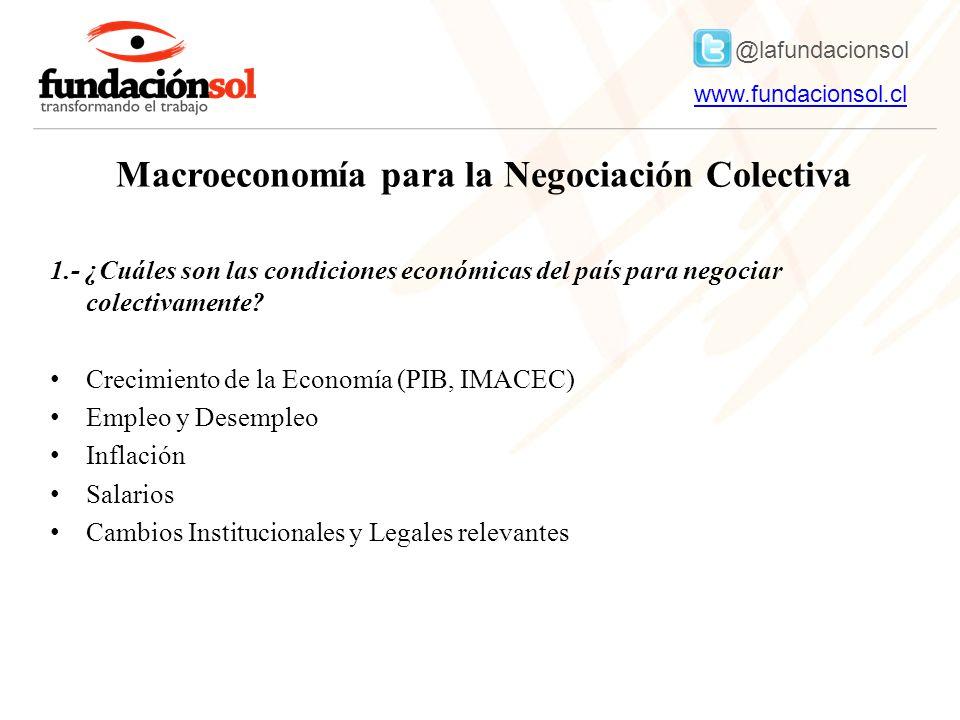 @lafundacionsol www.fundacionsol.clwww.fundacionsol.cl Macroeconomía para la Negociación Colectiva 1.- ¿Cuáles son las condiciones económicas del país para negociar colectivamente.