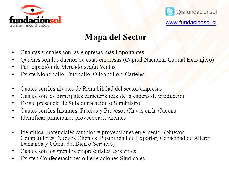 @lafundacionsol www.fundacionsol.clwww.fundacionsol.cl Mapa del Sector Cuántas y cuáles son las empresas más importantes Quiénes son los dueños de estas empresas (Capital Nacional-Capital Extranjero) Participación de Mercado según Ventas Existe Monopolio.