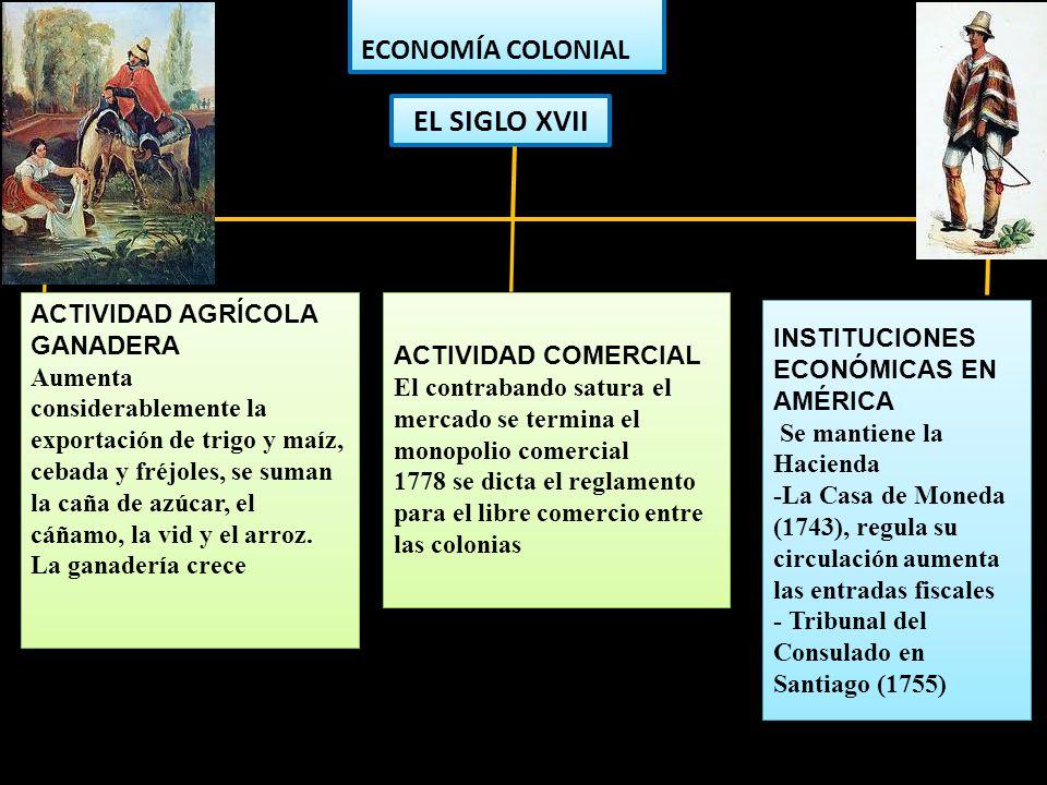 EL SIGLO XVII ECONOMÍA COLONIAL ACTIVIDAD AGRÍCOLA GANADERA Aumenta considerablemente la exportación de trigo y maíz, cebada y fréjoles, se suman la c
