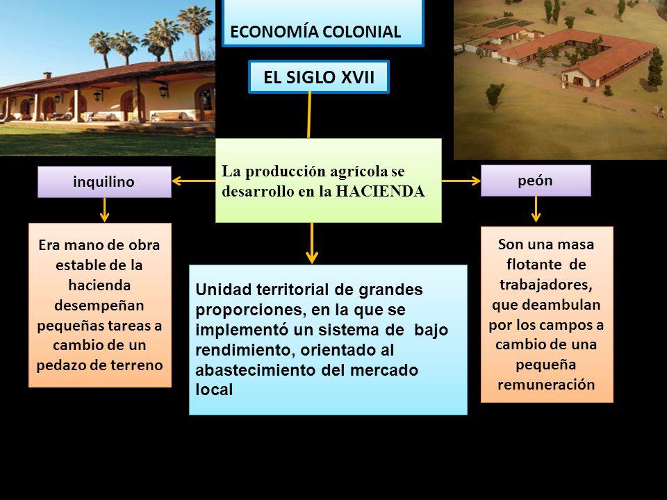 EL SIGLO XVII ECONOMÍA COLONIAL La producción agrícola se desarrollo en la HACIENDA Unidad territorial de grandes proporciones, en la que se implement