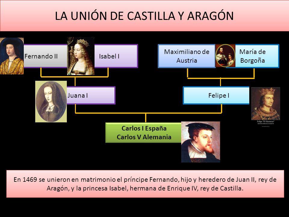 LA UNIÓN DE CASTILLA Y ARAGÓN En 1469 se unieron en matrimonio el príncipe Fernando, hijo y heredero de Juan II, rey de Aragón, y la princesa Isabel,