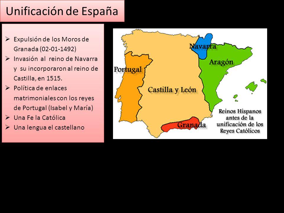 Unificación de España Expulsión de los Moros de Granada (02-01-1492) Invasión al reino de Navarra y su incorporaron al reino de Castilla, en 1515. Pol