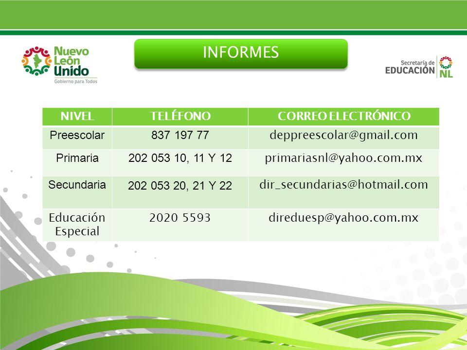 INFORMES NIVELTELÉFONOCORREO ELECTRÓNICO Preescolar837 197 77 deppreescolar@gmail.com Primaria202 053 10, 11 Y 12 primariasnl@yahoo.com.mx Secundaria202 053 20, 21 Y 22 dir_secundarias@hotmail.com Educación Especial 2020 5593direduesp@yahoo.com.mx