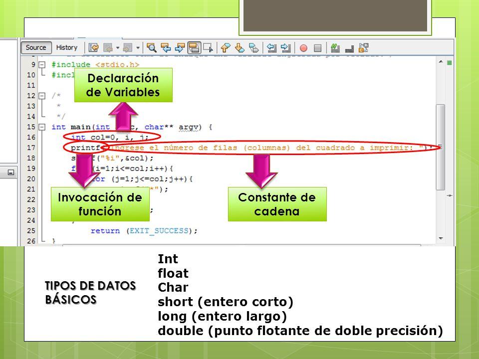 Invocación de función Constante de cadena Declaración de Variables TIPOS DE DATOS BÁSICOS Int float Char short (entero corto) long (entero largo) double (punto flotante de doble precisión)
