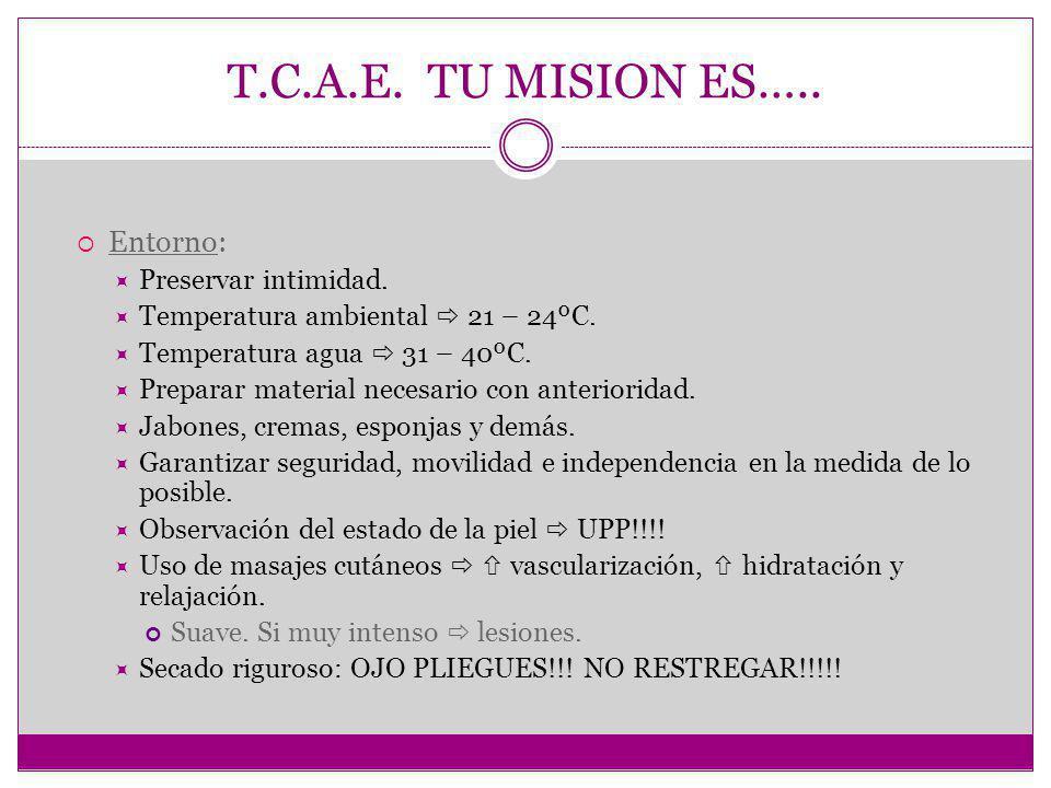 T.C.A.E.TU MISION ES….. Entorno: Preservar intimidad.