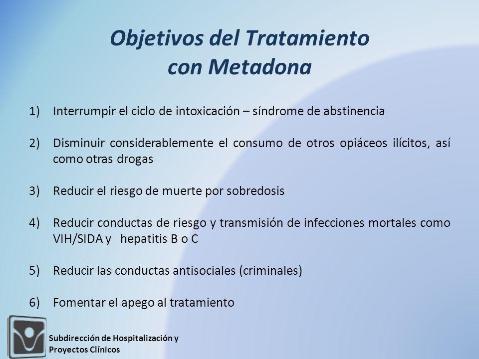 Objetivos del Tratamiento con Metadona 1)Interrumpir el ciclo de intoxicación – síndrome de abstinencia 2)Disminuir considerablemente el consumo de ot