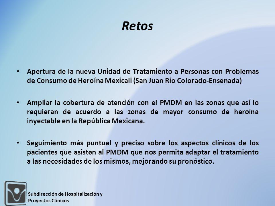 Retos Apertura de la nueva Unidad de Tratamiento a Personas con Problemas de Consumo de Heroína Mexicali (San Juan Río Colorado-Ensenada) Ampliar la c