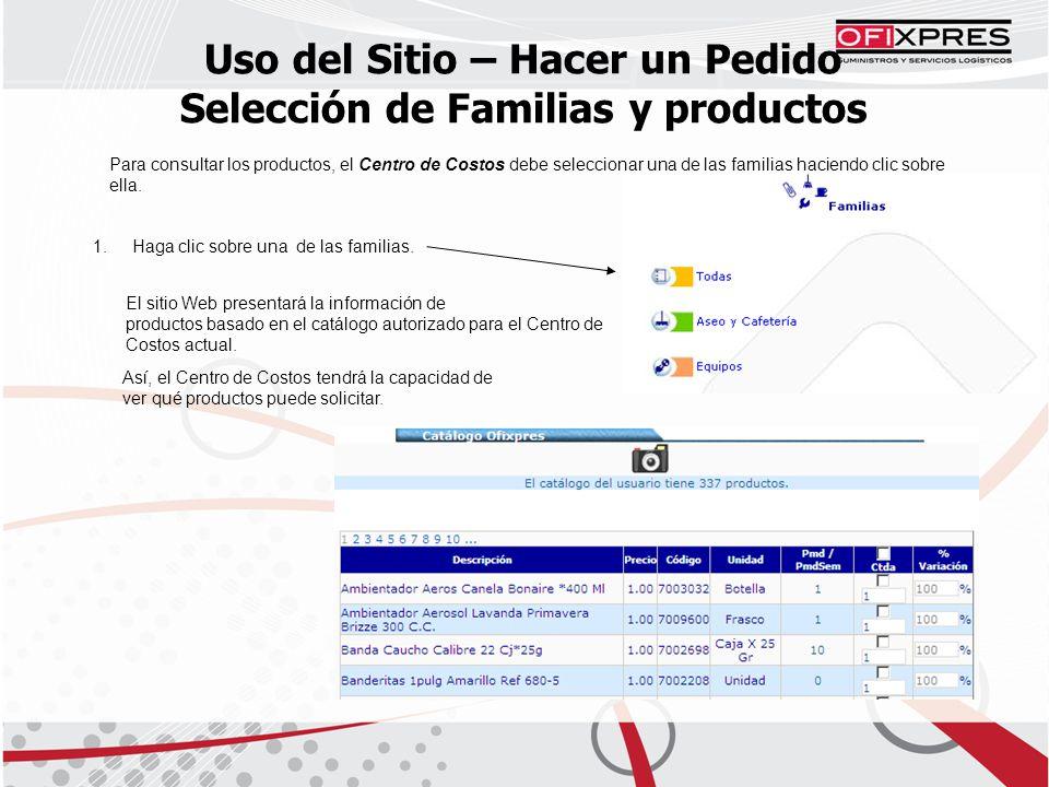 Uso del Sitio – Hacer un Pedido Selección de Familias y productos Para consultar los productos, el Centro de Costos debe seleccionar una de las familias haciendo clic sobre ella.