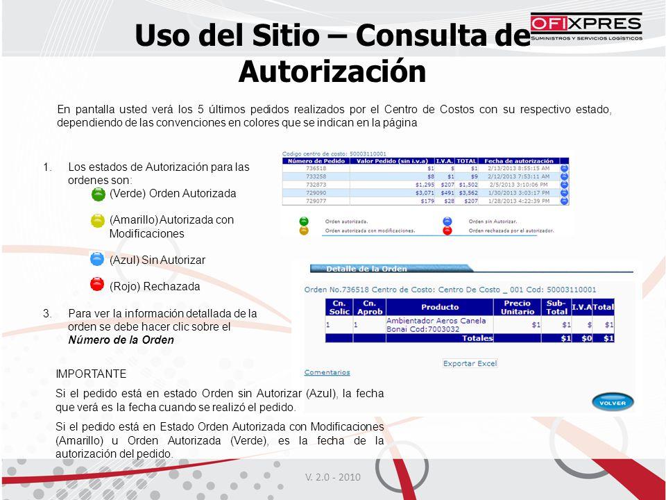 Uso del Sitio – Consulta de Autorización 1.Los estados de Autorización para las ordenes son: (Verde) Orden Autorizada (Amarillo) Autorizada con Modifi