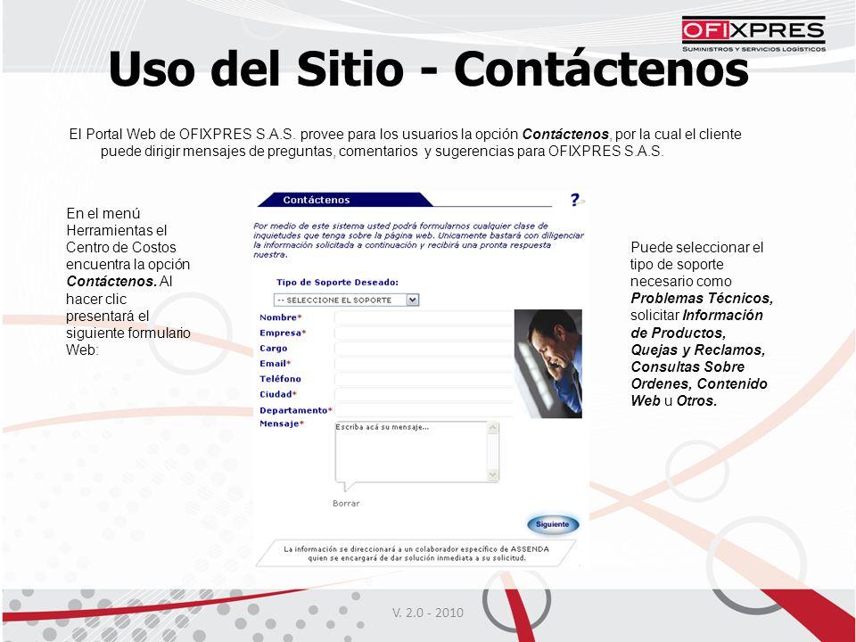 Uso del Sitio - Contáctenos V.