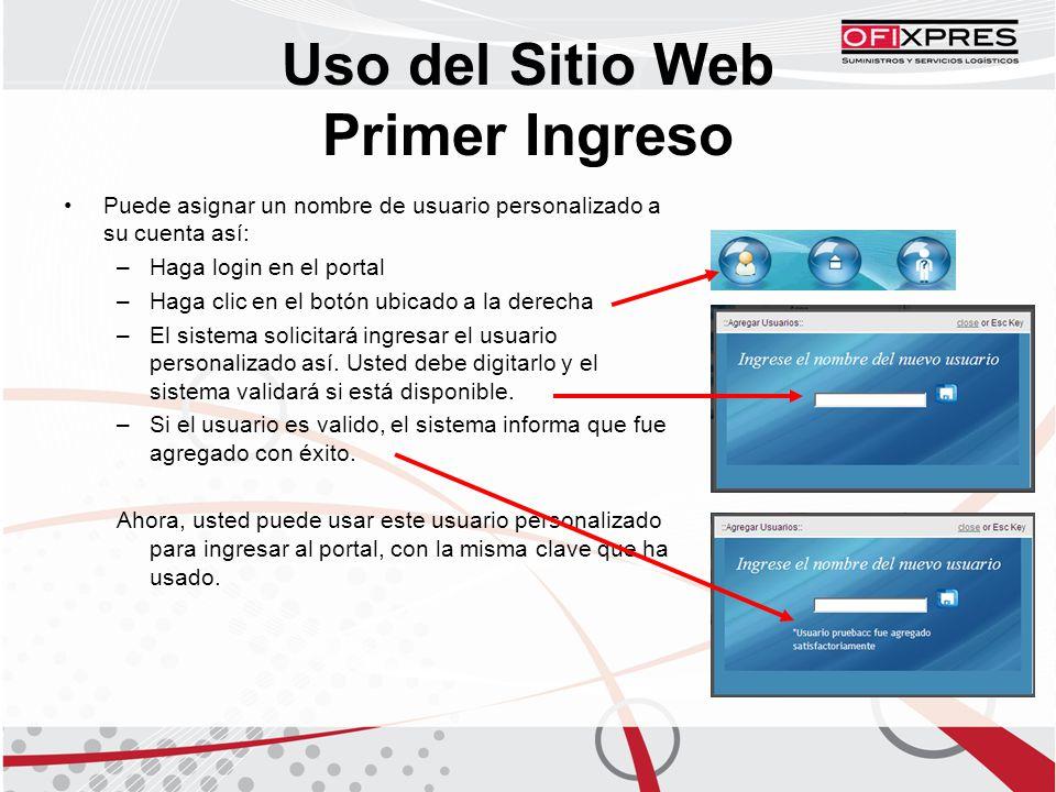 Puede asignar un nombre de usuario personalizado a su cuenta así: –Haga login en el portal –Haga clic en el botón ubicado a la derecha –El sistema solicitará ingresar el usuario personalizado así.