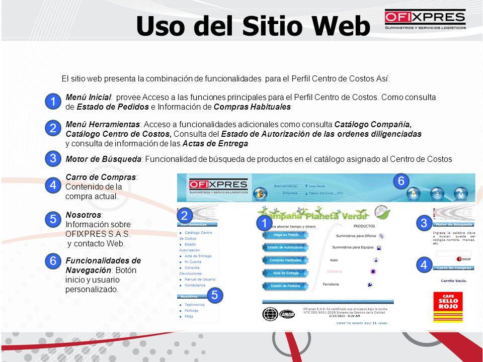 Uso del Sitio Web El sitio web presenta la combinación de funcionalidades para el Perfil Centro de Costos Así: 5 4 3 2 1 Menú Inicial: provee Acceso a las funciones principales para el Perfil Centro de Costos.