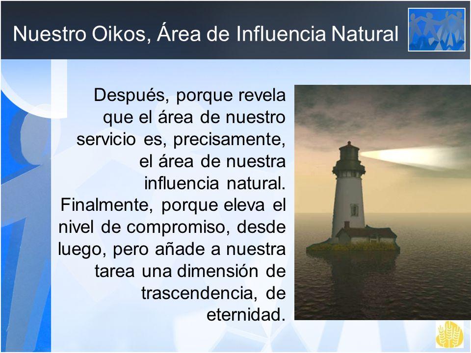 Nuestro Oikos, Área de Influencia Natural Después, porque revela que el área de nuestro servicio es, precisamente, el área de nuestra influencia natur