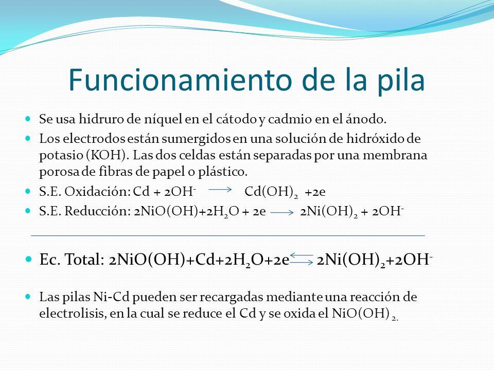 Funcionamiento de la pila Se usa hidruro de níquel en el cátodo y cadmio en el ánodo. Los electrodos están sumergidos en una solución de hidróxido de