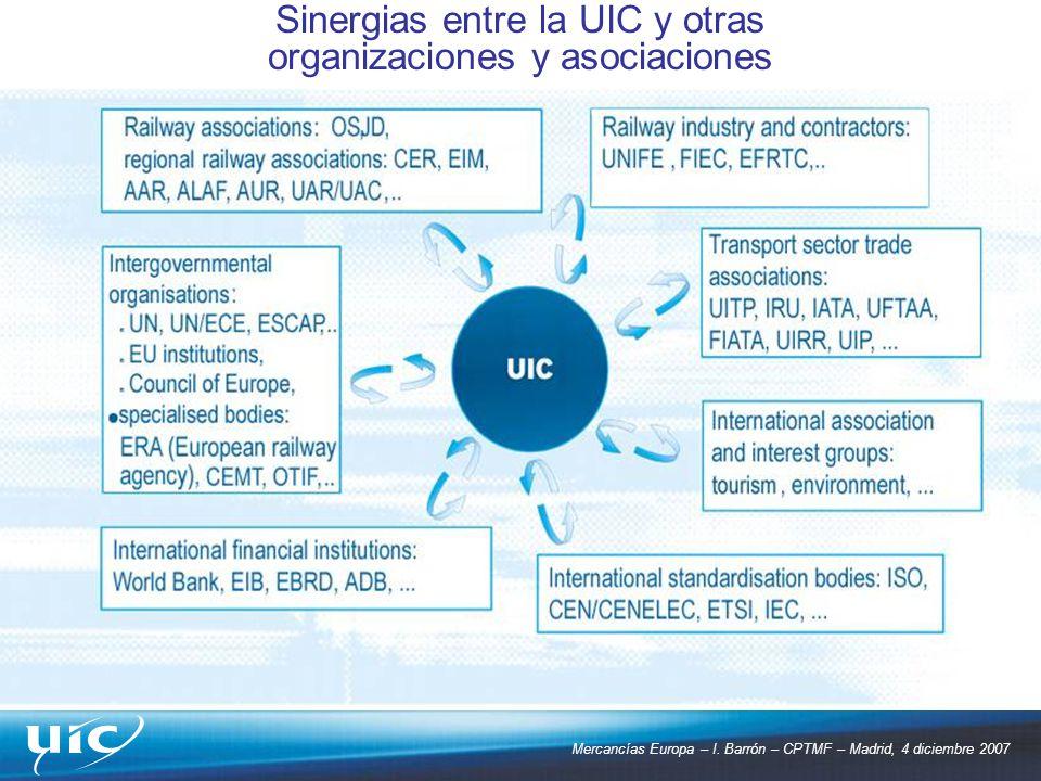 Mercancías Europa – I. Barrón – CPTMF – Madrid, 4 diciembre 2007 Sinergias entre la UIC y otras organizaciones y asociaciones