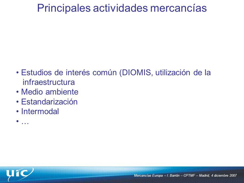 Mercancías Europa – I. Barrón – CPTMF – Madrid, 4 diciembre 2007 Estudios de interés común (DIOMIS, utilización de la infraestructura Medio ambiente E