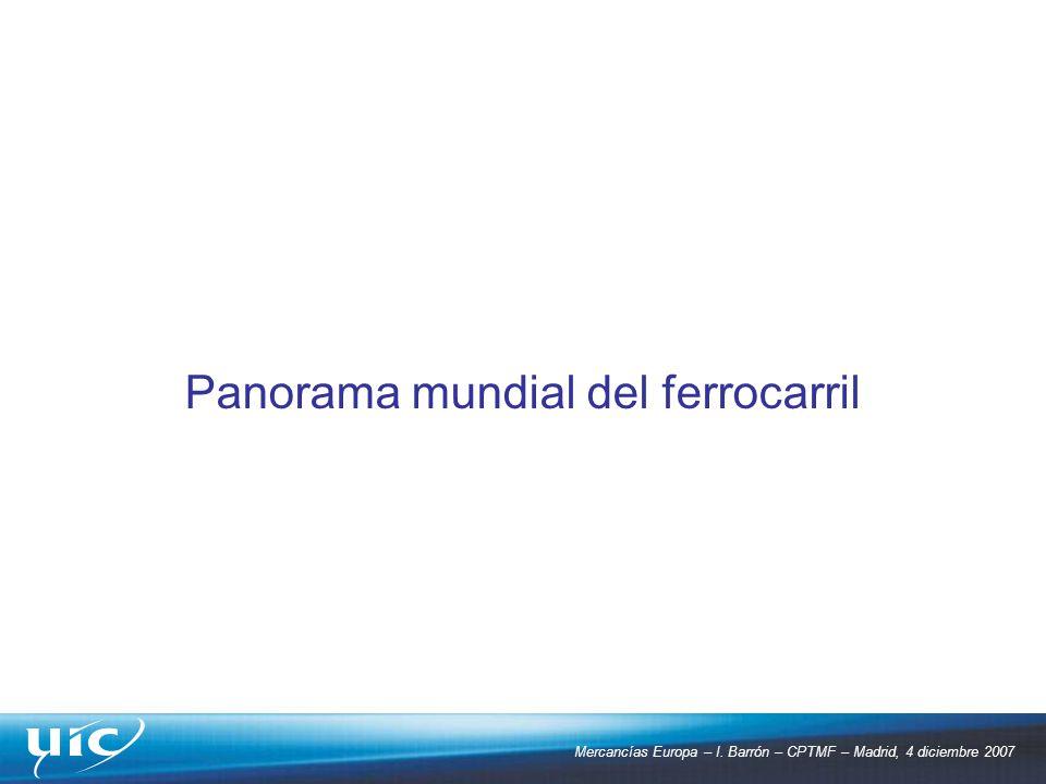 Mercancías Europa – I. Barrón – CPTMF – Madrid, 4 diciembre 2007 Panorama mundial del ferrocarril