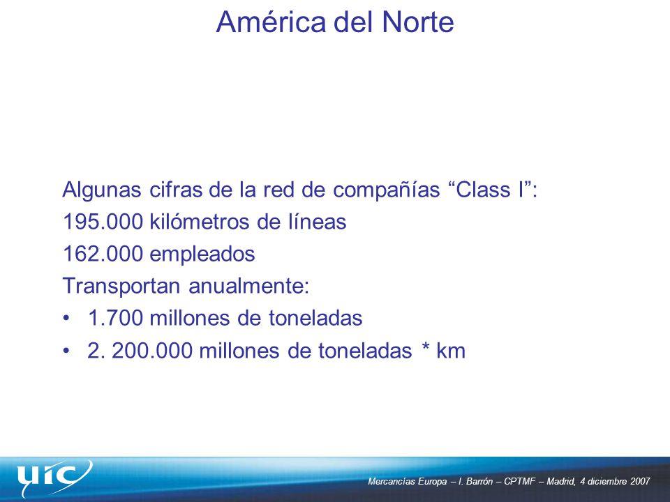 Mercancías Europa – I. Barrón – CPTMF – Madrid, 4 diciembre 2007 Algunas cifras de la red de compañías Class I: 195.000 kilómetros de líneas 162.000 e