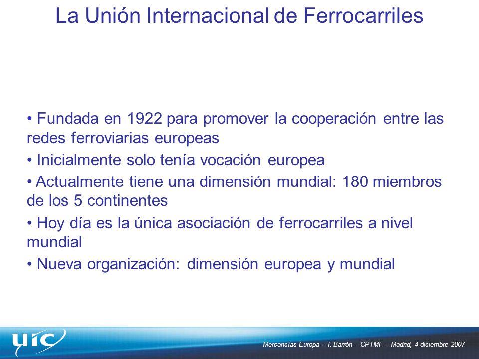 Mercancías Europa – I. Barrón – CPTMF – Madrid, 4 diciembre 2007 Fundada en 1922 para promover la cooperación entre las redes ferroviarias europeas In