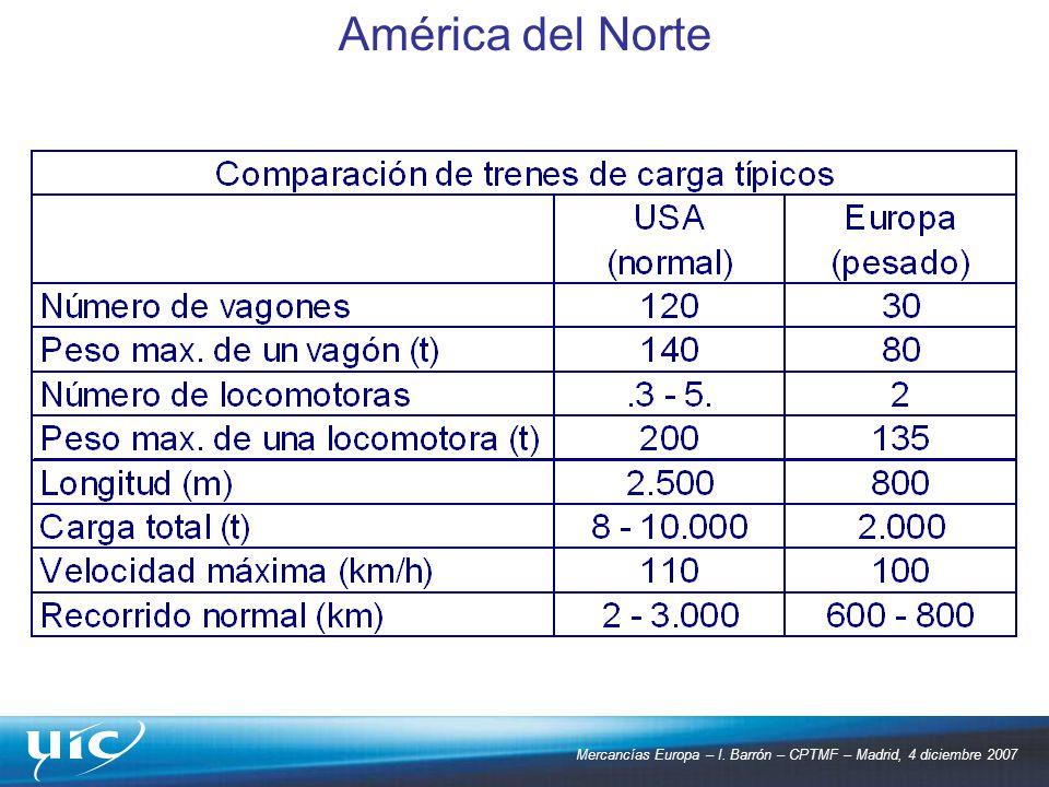 Mercancías Europa – I. Barrón – CPTMF – Madrid, 4 diciembre 2007 América del Norte