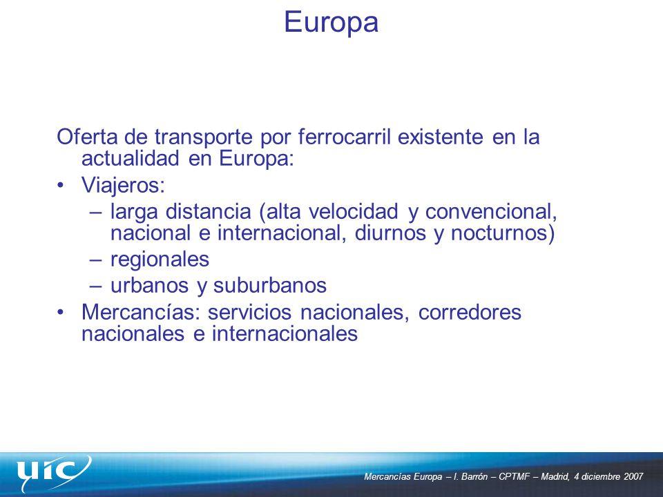 Mercancías Europa – I. Barrón – CPTMF – Madrid, 4 diciembre 2007 Oferta de transporte por ferrocarril existente en la actualidad en Europa: Viajeros: