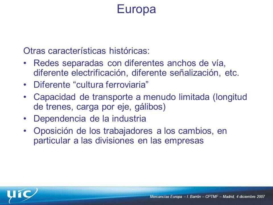 Mercancías Europa – I. Barrón – CPTMF – Madrid, 4 diciembre 2007 Otras características históricas: Redes separadas con diferentes anchos de vía, difer