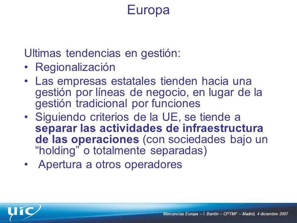 Mercancías Europa – I. Barrón – CPTMF – Madrid, 4 diciembre 2007 Ultimas tendencias en gestión: Regionalización Las empresas estatales tienden hacia u