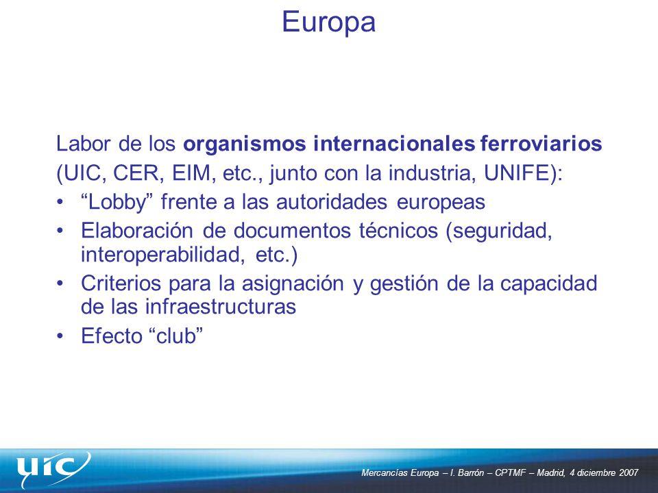 Mercancías Europa – I. Barrón – CPTMF – Madrid, 4 diciembre 2007 Labor de los organismos internacionales ferroviarios (UIC, CER, EIM, etc., junto con
