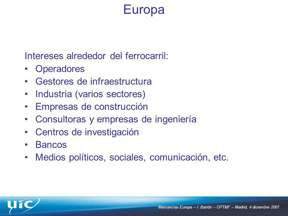 Mercancías Europa – I. Barrón – CPTMF – Madrid, 4 diciembre 2007 Intereses alrededor del ferrocarril: Operadores Gestores de infraestructura Industria