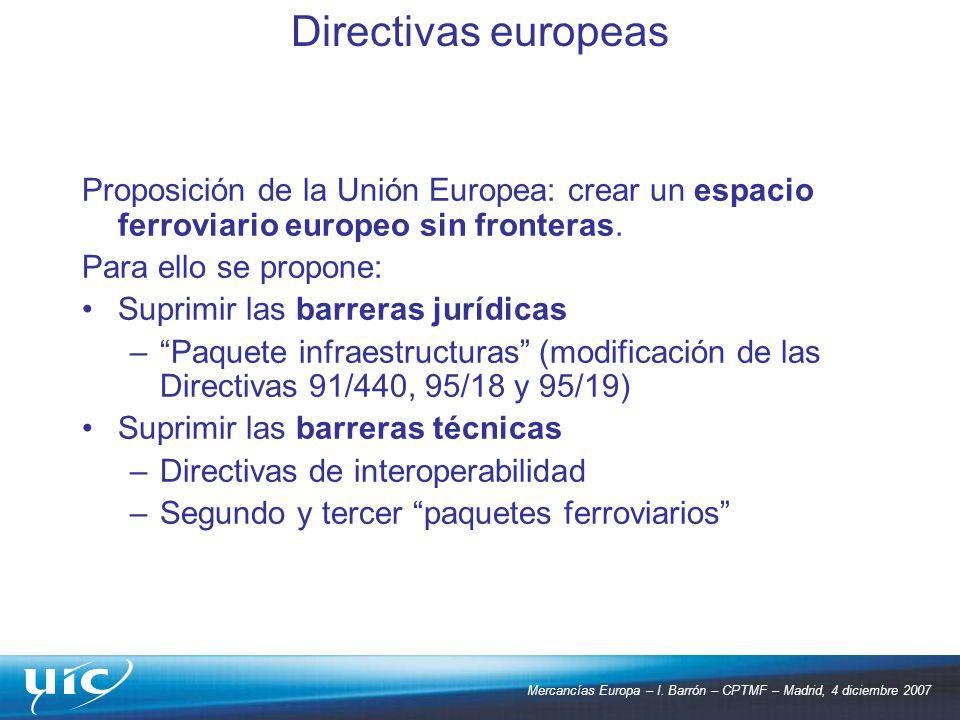 Mercancías Europa – I. Barrón – CPTMF – Madrid, 4 diciembre 2007 Proposición de la Unión Europea: crear un espacio ferroviario europeo sin fronteras.