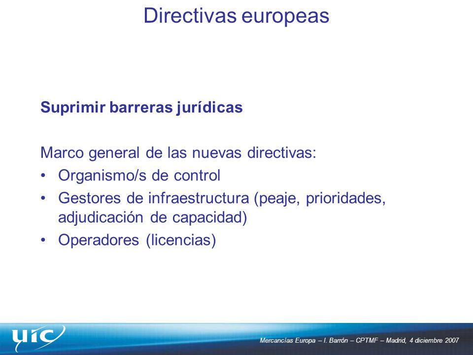 Mercancías Europa – I. Barrón – CPTMF – Madrid, 4 diciembre 2007 Suprimir barreras jurídicas Marco general de las nuevas directivas: Organismo/s de co