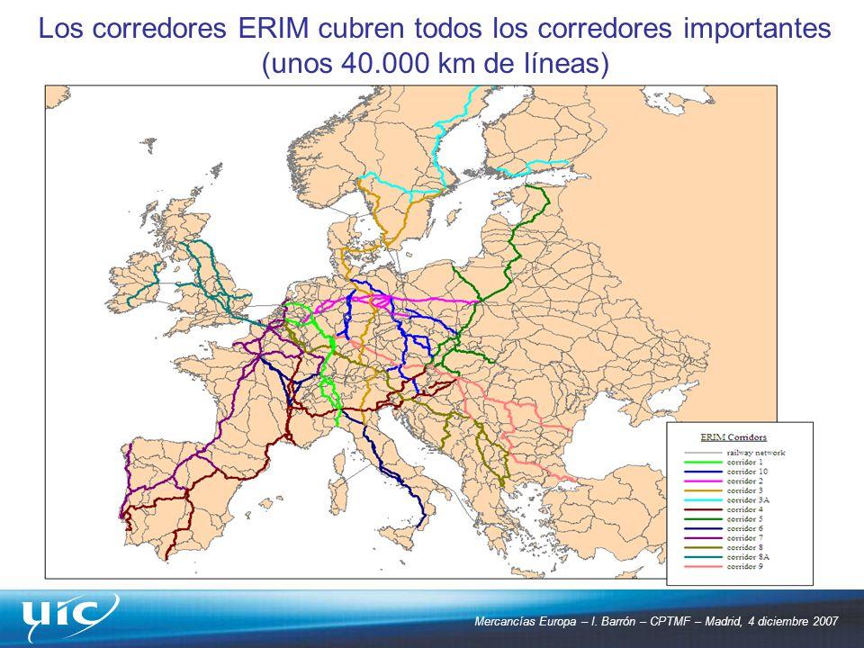 Mercancías Europa – I. Barrón – CPTMF – Madrid, 4 diciembre 2007 Los corredores ERIM cubren todos los corredores importantes (unos 40.000 km de líneas