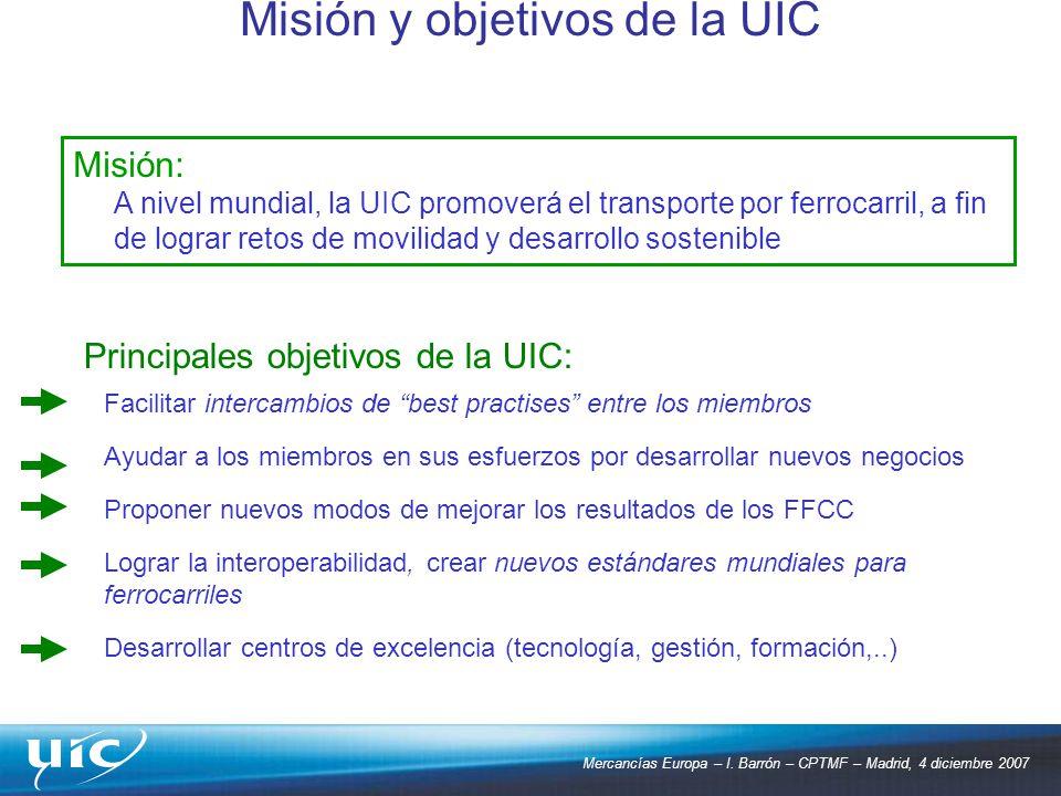 Mercancías Europa – I. Barrón – CPTMF – Madrid, 4 diciembre 2007 Misión y objetivos de la UIC Misión: A nivel mundial, la UIC promoverá el transporte