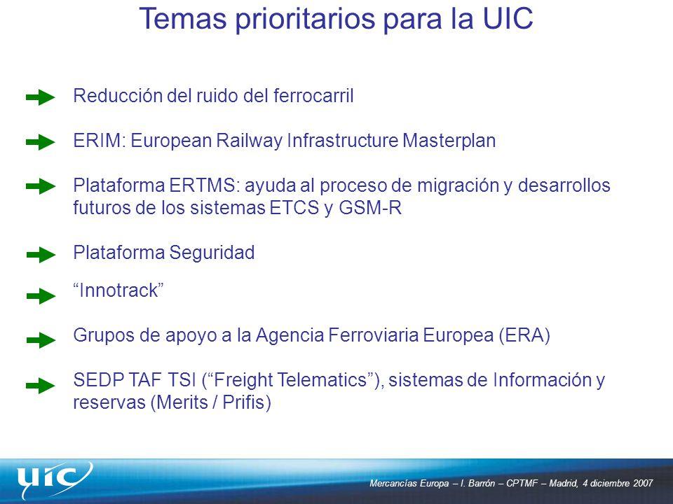 Mercancías Europa – I. Barrón – CPTMF – Madrid, 4 diciembre 2007 Reducción del ruido del ferrocarril ERIM: European Railway Infrastructure Masterplan
