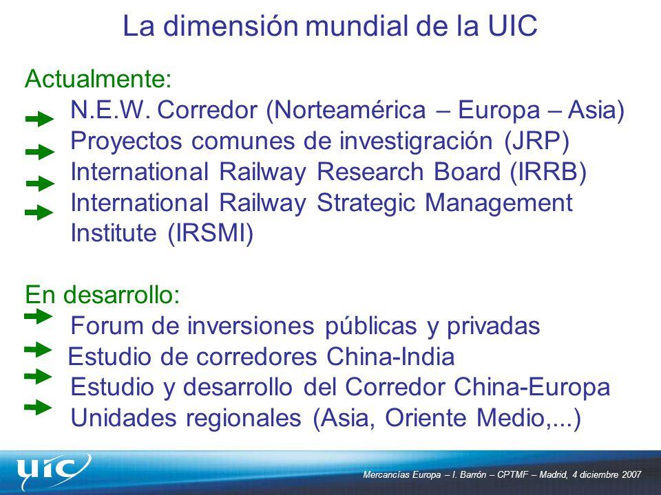 Mercancías Europa – I. Barrón – CPTMF – Madrid, 4 diciembre 2007 Actualmente: N.E.W. Corredor (Norteamérica – Europa – Asia) Proyectos comunes de inve