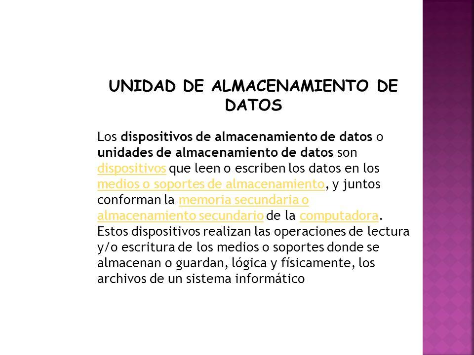 Los dispositivos de almacenamiento de datos o unidades de almacenamiento de datos son dispositivos que leen o escriben los datos en los medios o sopor