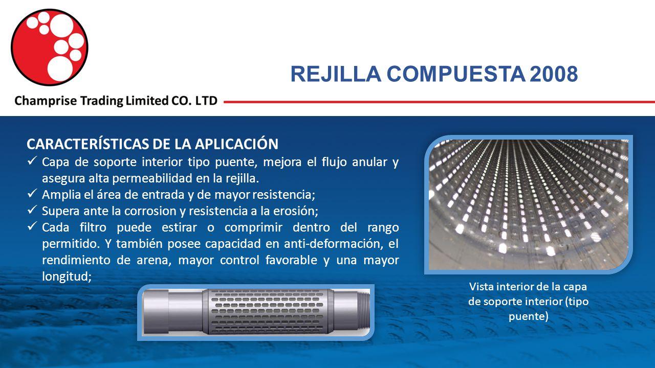REJILLA COMPUESTA 2008 CARACTERÍSTICAS DE LA APLICACIÓN Capa de soporte interior tipo puente, mejora el flujo anular y asegura alta permeabilidad en la rejilla.