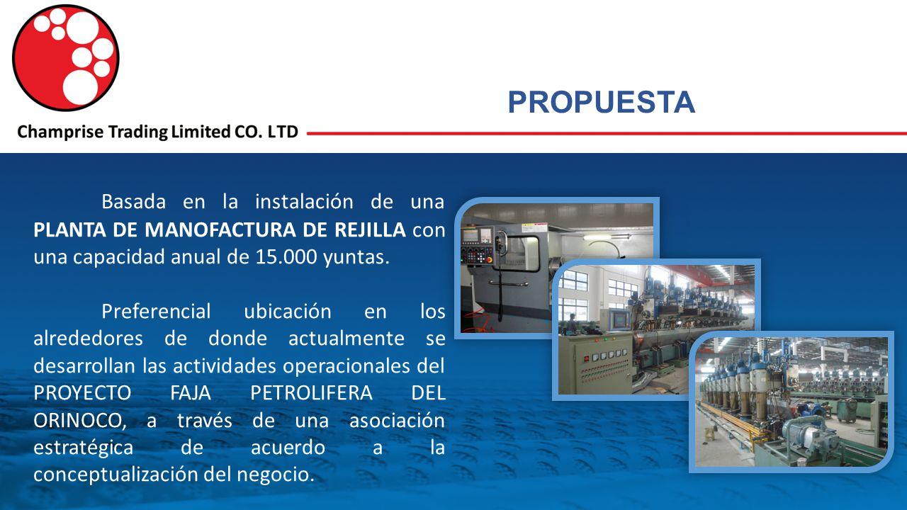 PROPUESTA Basada en la instalación de una PLANTA DE MANOFACTURA DE REJILLA con una capacidad anual de 15.000 yuntas.