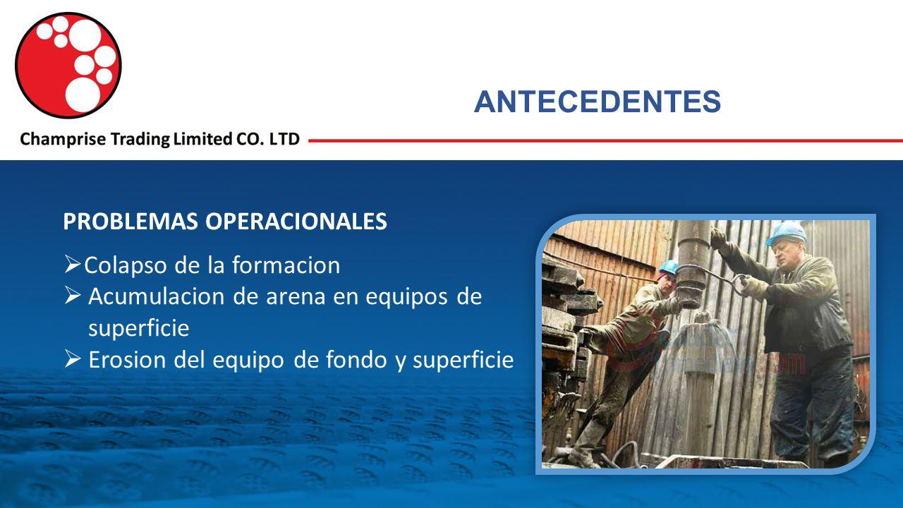 PROBLEMAS OPERACIONALES Colapso de la formacion Acumulacion de arena en equipos de superficie Erosion del equipo de fondo y superficie ANTECEDENTES